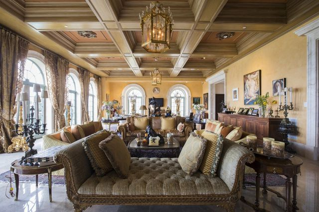 The oceanfront home of Jeff Greene and his wife, Mei Sze Greene, on 'Billionaires Row' in Palm Beach. (Exterior seen above)